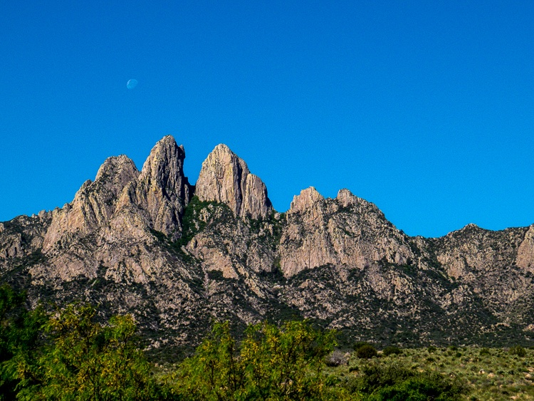 Moon setting over the needles of the Organ Mountains