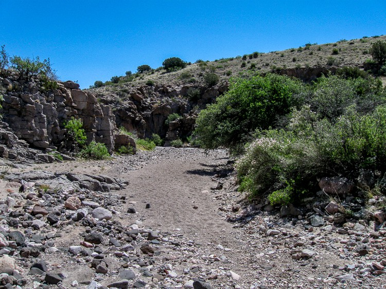 Wide riverbed trail