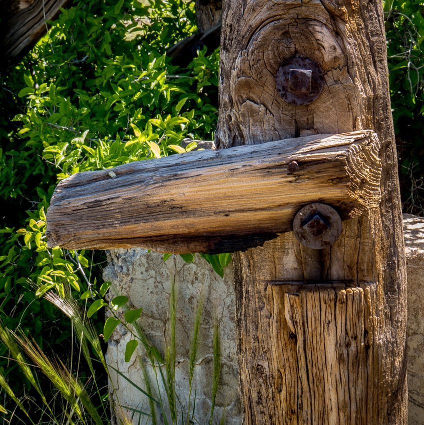 Close up of fence post and hardware