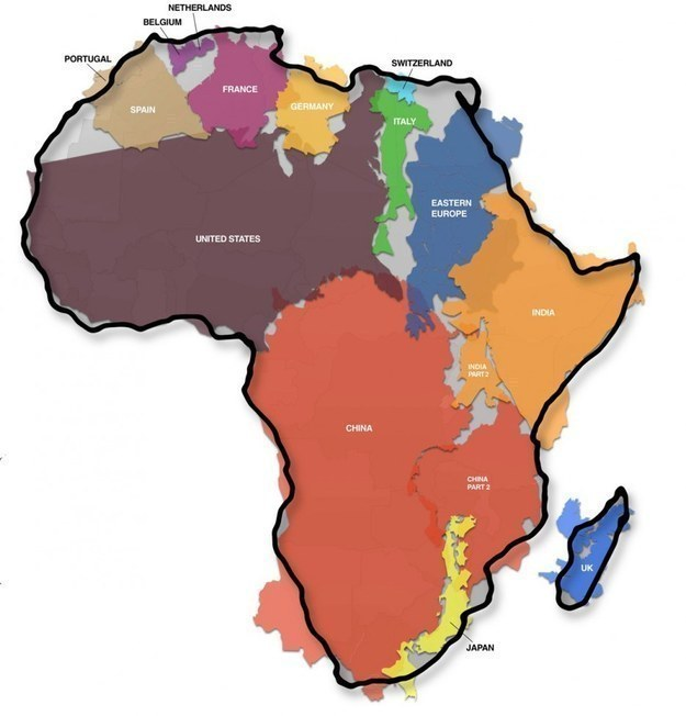 Many of the world's land masses would fit inside Africa