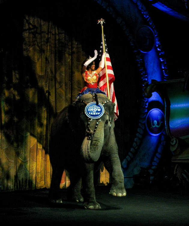 Female Performer Riding Elephant