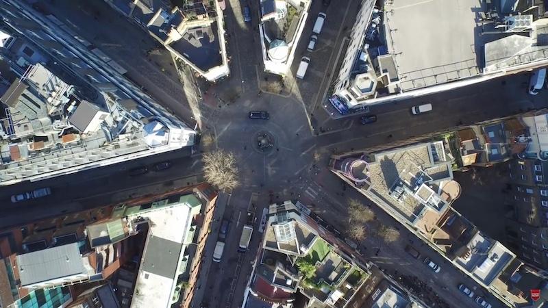 T. Ratcliff Drone Shot of Seven Dials-London