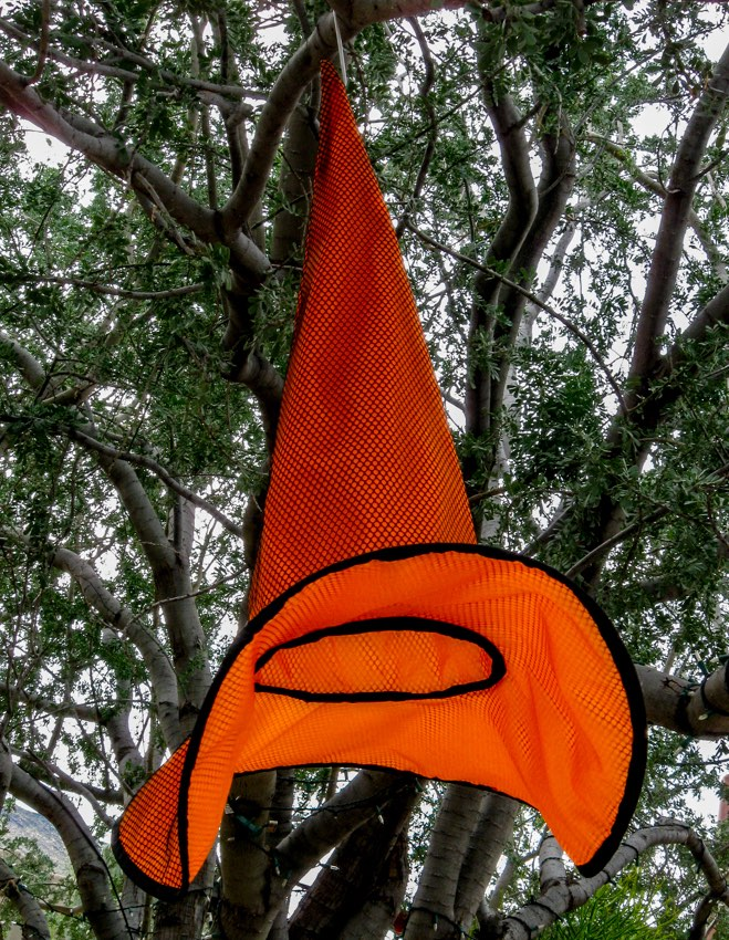 An orange witch hat