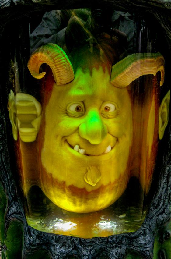 A devilish pumpkin character