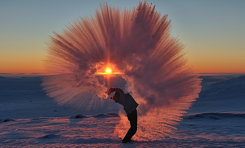 Hot tea freezing in mid-air at 30 degrees below zero