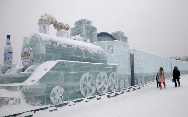Ice-sculpted train