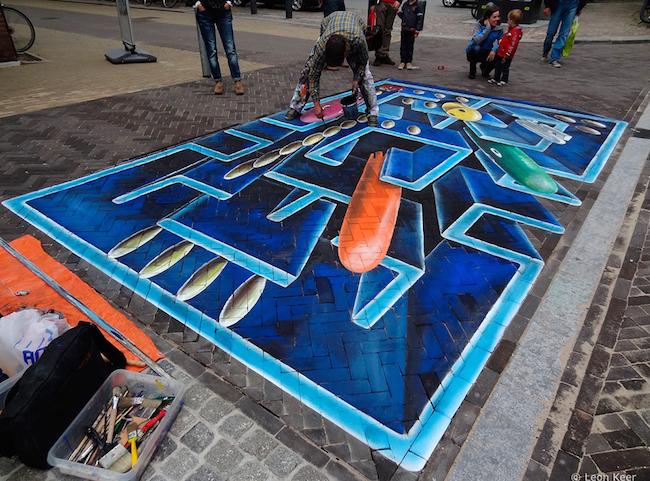 Pac-Man Streetart by Leon Keer