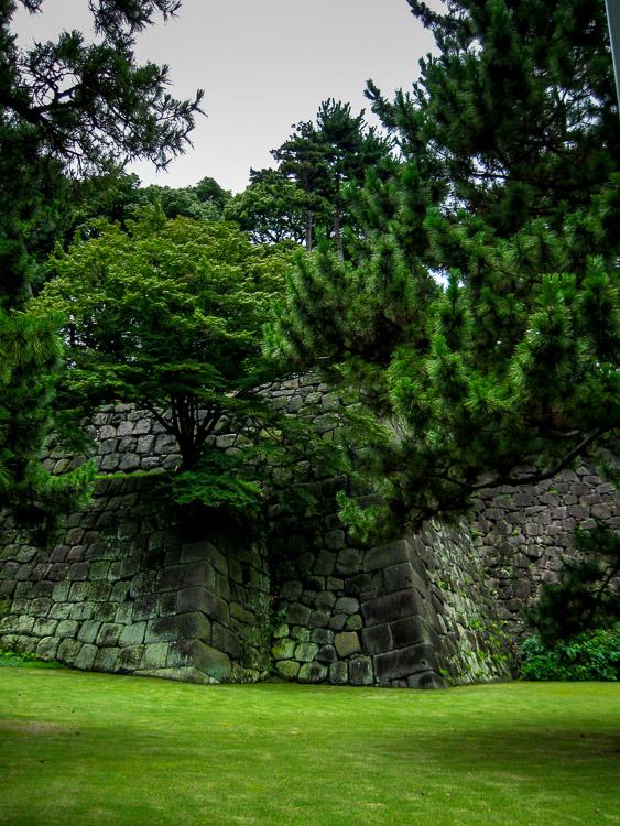 Stone wall surrounding the garden grounds