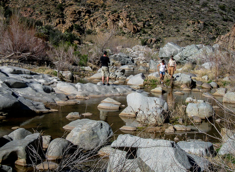 Crossing the Agua Fria via boulders