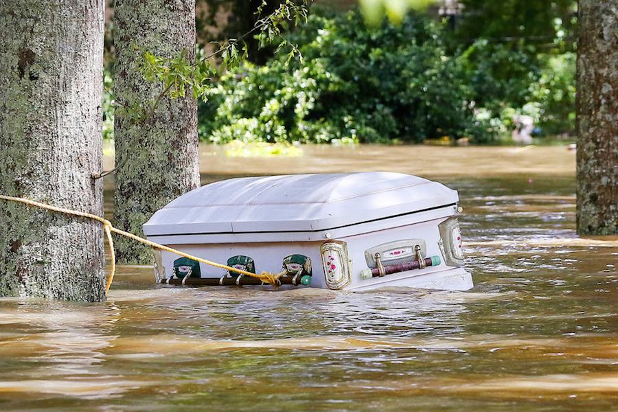 Casket floating in the LA floods
