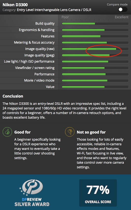 Graphic Depicting Strong/Weak Points of the Nikon D3300 From DP Review's Website