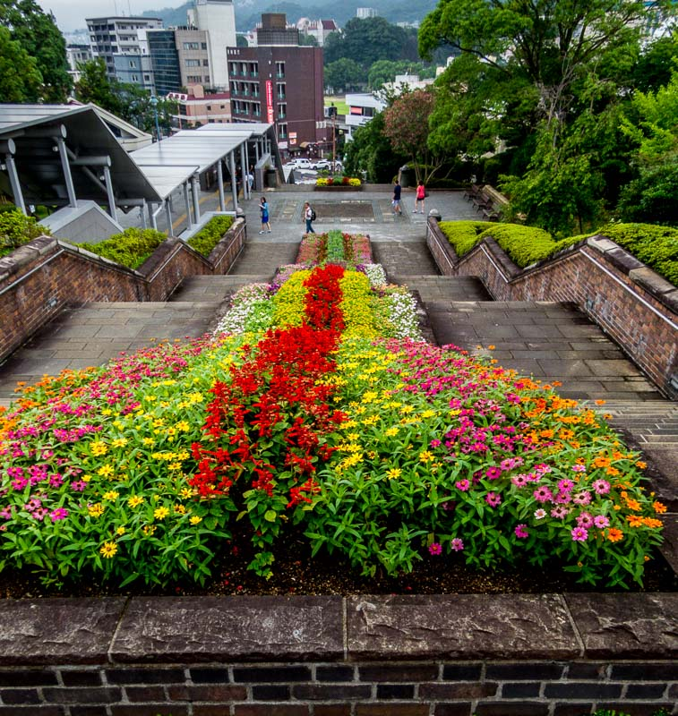 Beautiful flower garden stairway, Nagasaki Peace Park
