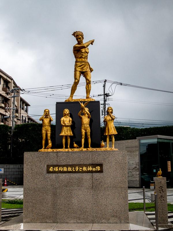 Statue in Memory of School children & Teachers, in front of the Nagasaki Atomic Bomb Museum
