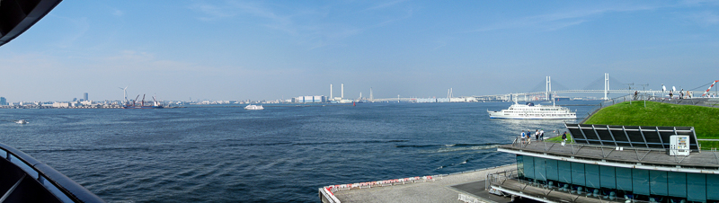 Panorama from the deck of the Diamond Princess in Tokyo