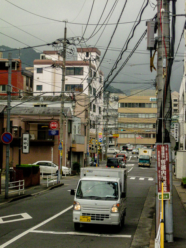 Cables and wires across a street in Nagasaki, Japan