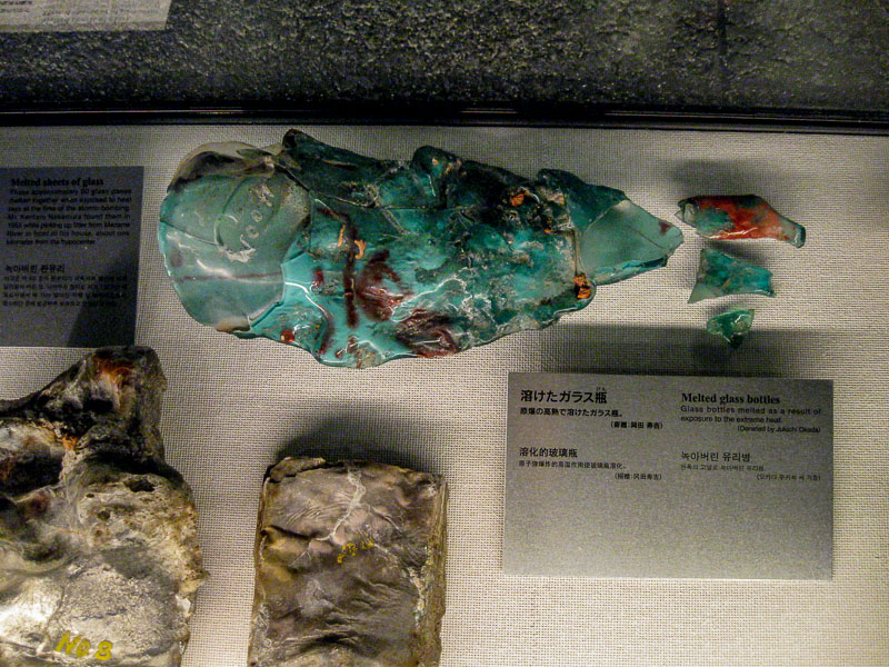 Glass bottles melted by the heat of the Nagasaki A-Bomb