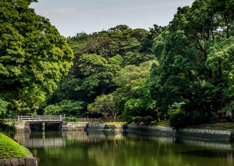 Hama-rikyu Gardens pond area