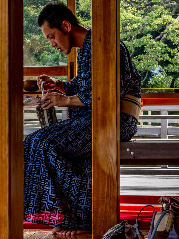 Woman dressed in traditional Japanese garb