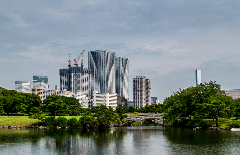 Cityscape seen from the gardens