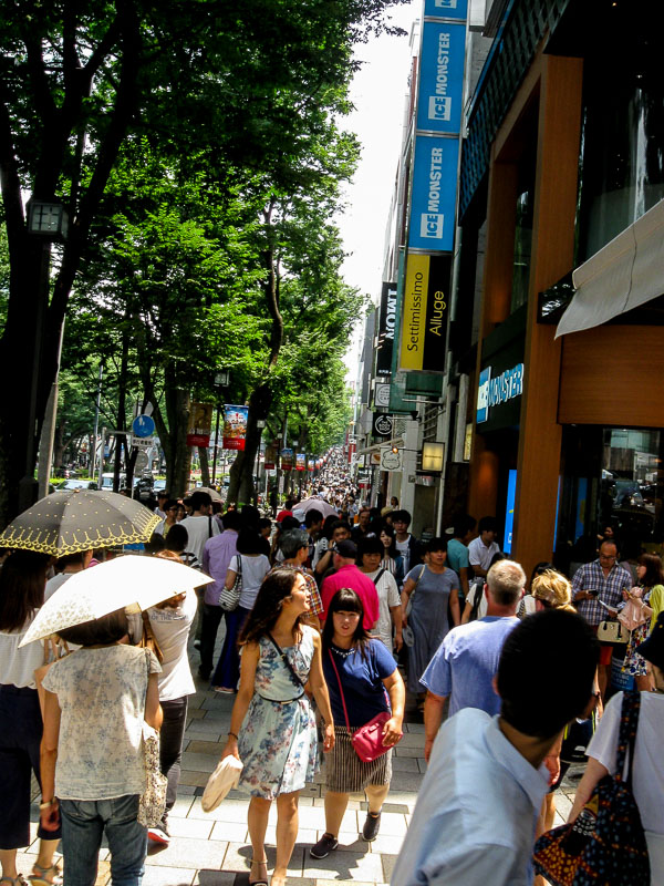 Typical street view of a Tokyo shopping area.