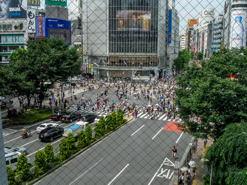 Shibuya Station Crosswalk - Elevated View