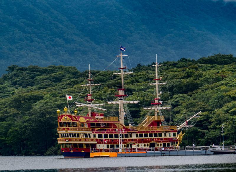 Red Pirate Ship on Lake Ashi