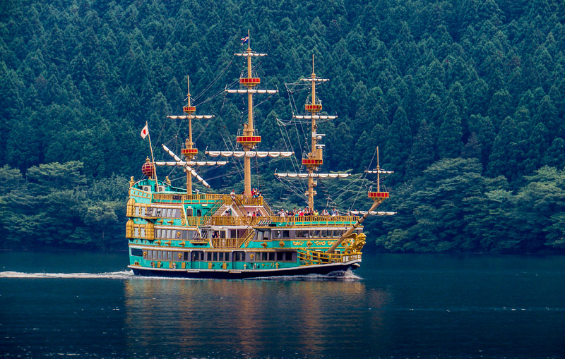 Blue/Green Pirate Ship on Lake Ashi