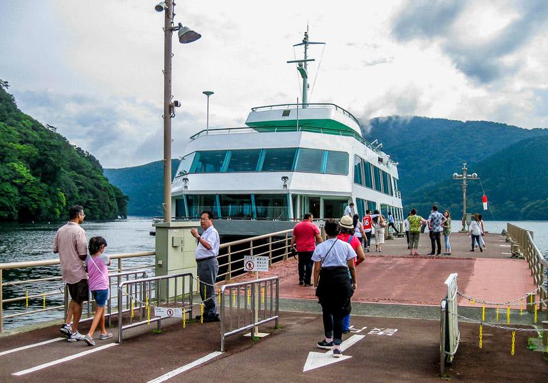 Boarding the Ferry on Lake Ashi