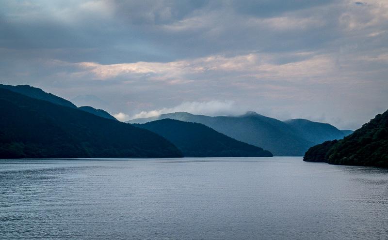 Dramatic Mountains and Clouds on Lake Ashi
