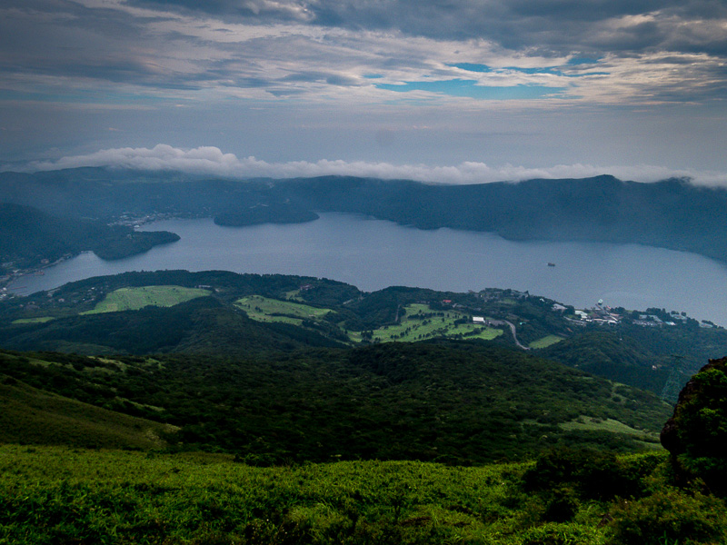 View of Lake Ashi from top of ropeway