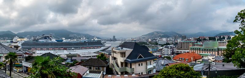 Panoramic view of the harbor below Glover Garden, Nagasaki