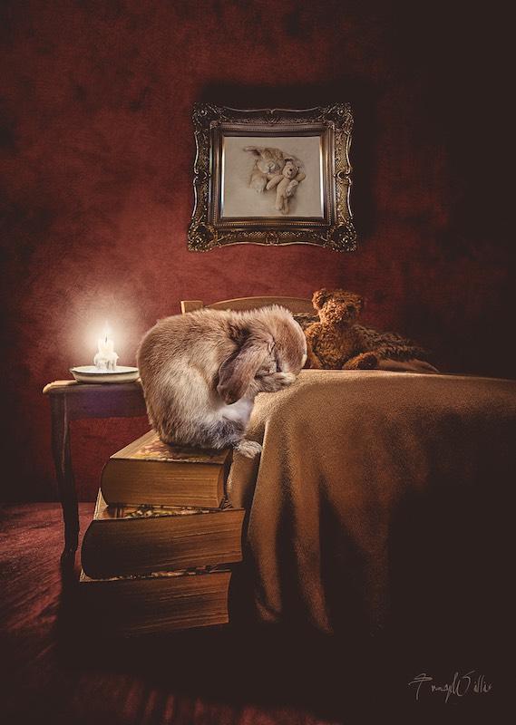 Praying Bedtime Bunny with Teddy Bear
