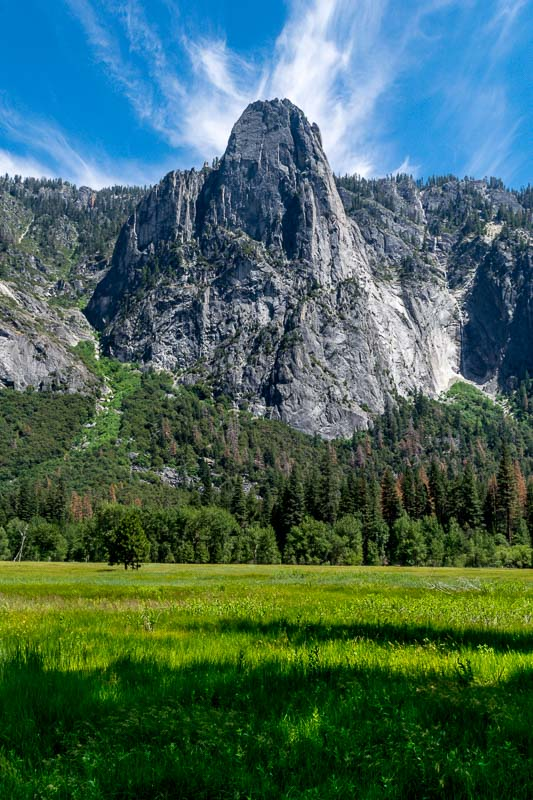Across from El Capitan, Sentinel Rock watches over the valley