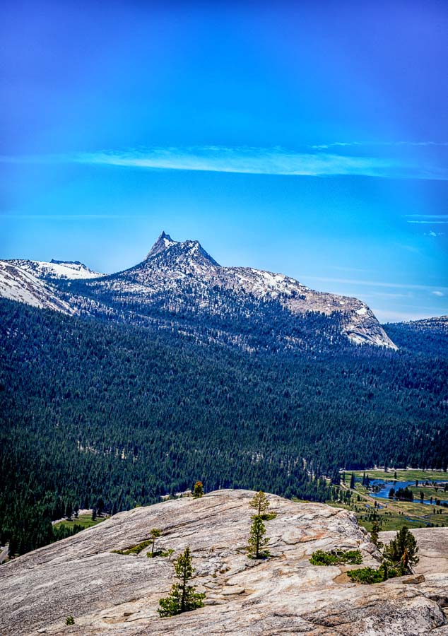 Cathedral Peak and Tuolumne Meadows from Sentinel Dome