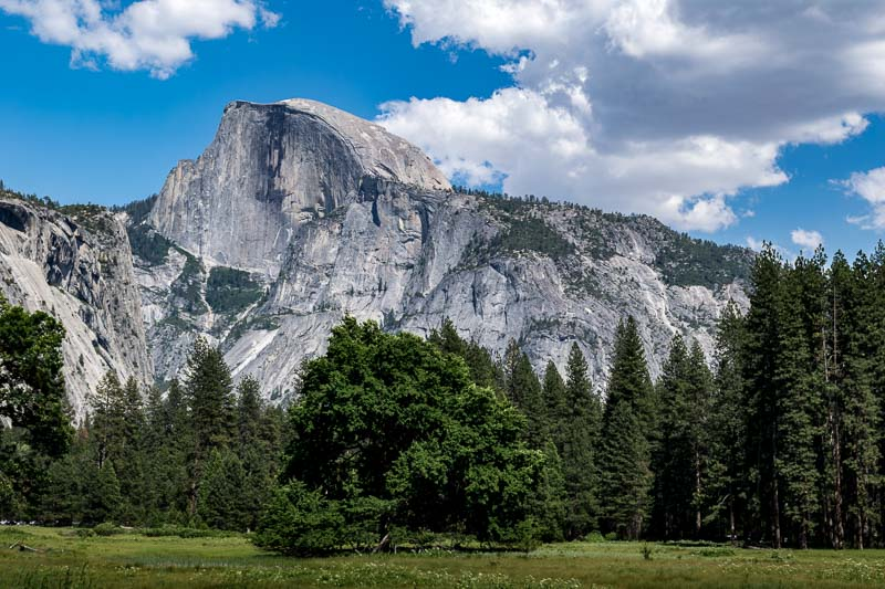 Half Dome as viewed from near the Tamarack Building (part of the Valley Lodge Complex)