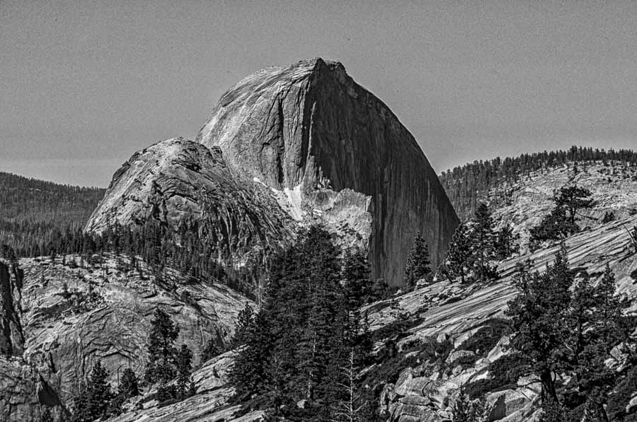 Half Dome rendered in black and white