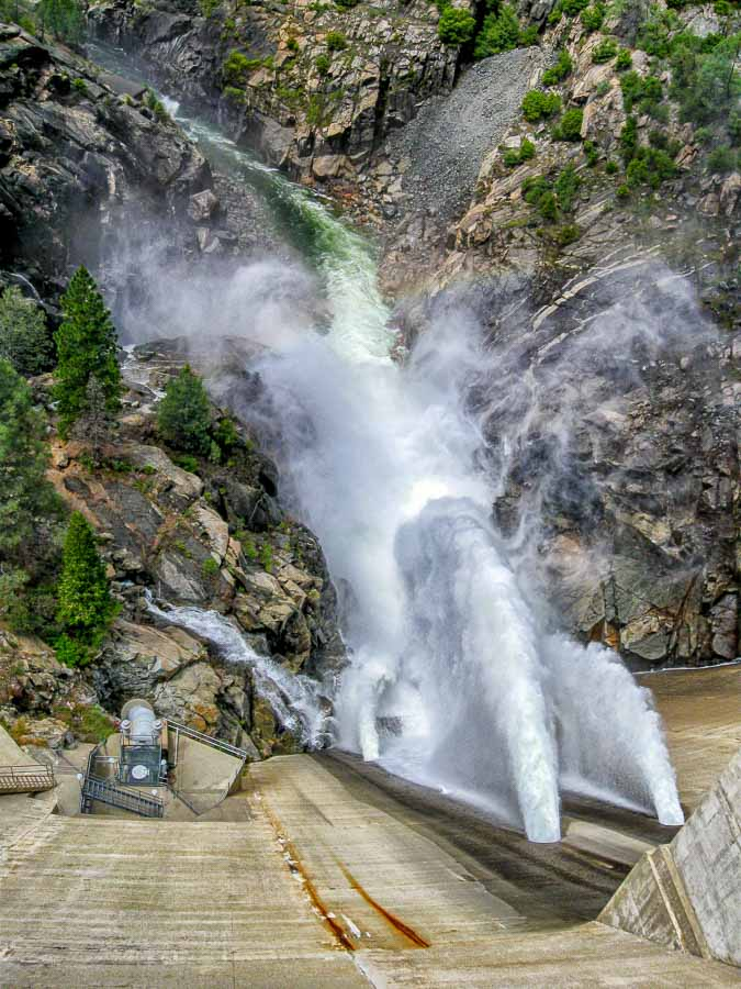 Hetch Hetchy water release at the dam