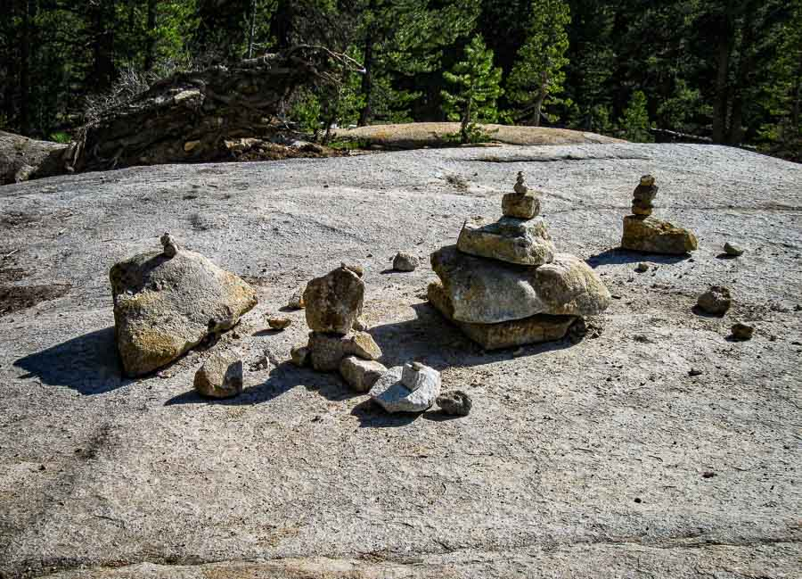 Artistic cairn layout at Lembert Dome