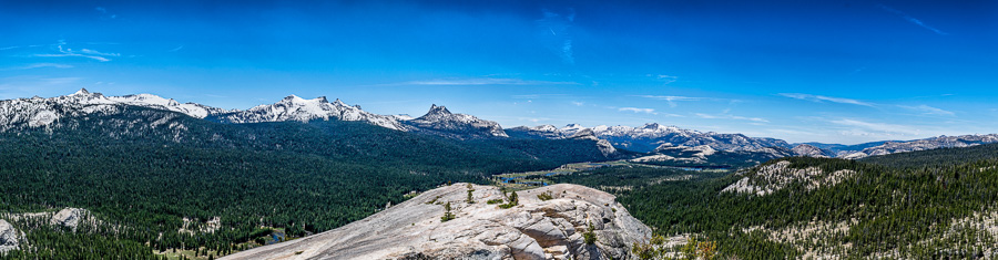 A panorama taken from the top of Lembert Dome