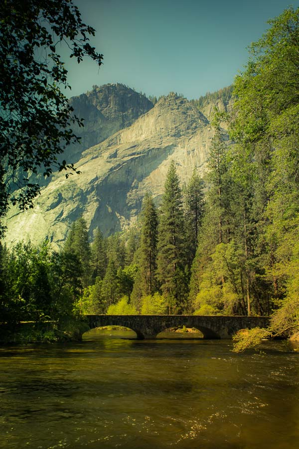 Old style picture of the Merced near the Majestic Yosemite Hotel