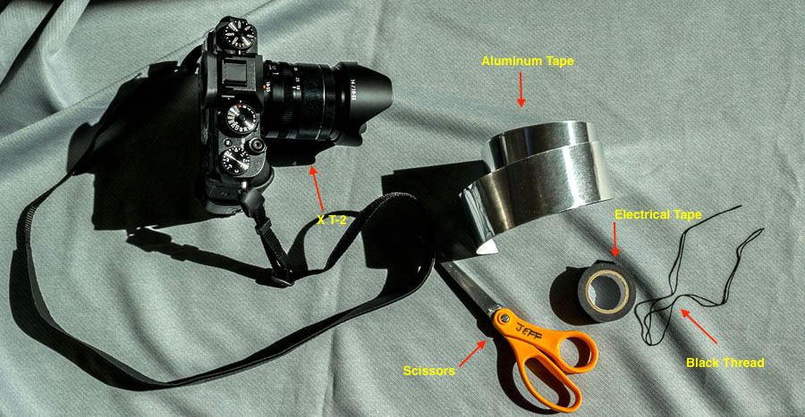 Supplies needed to tether the lens cap