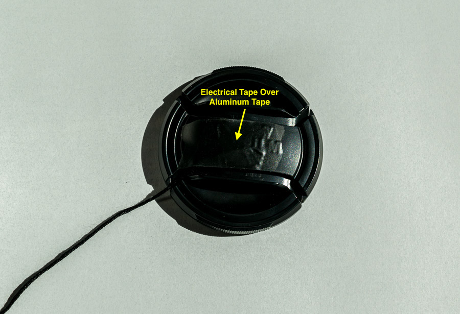 Black electrician's tape is used to cover the silver foil tape