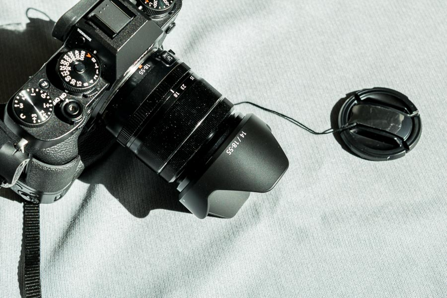 X T-2 with tethered lens cap