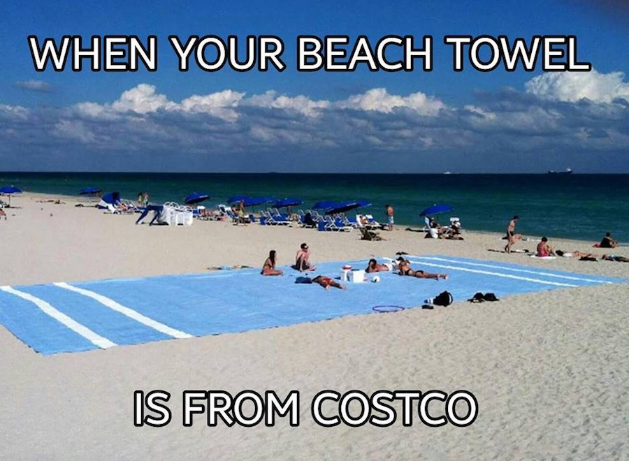 'When your beach towel is from COSTCO