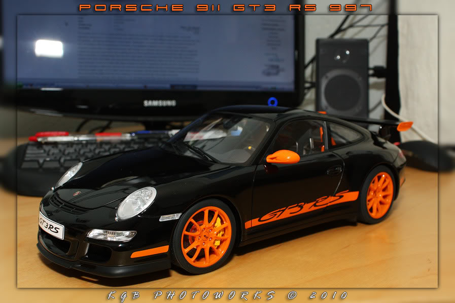 An orange and black Halloween Porsche