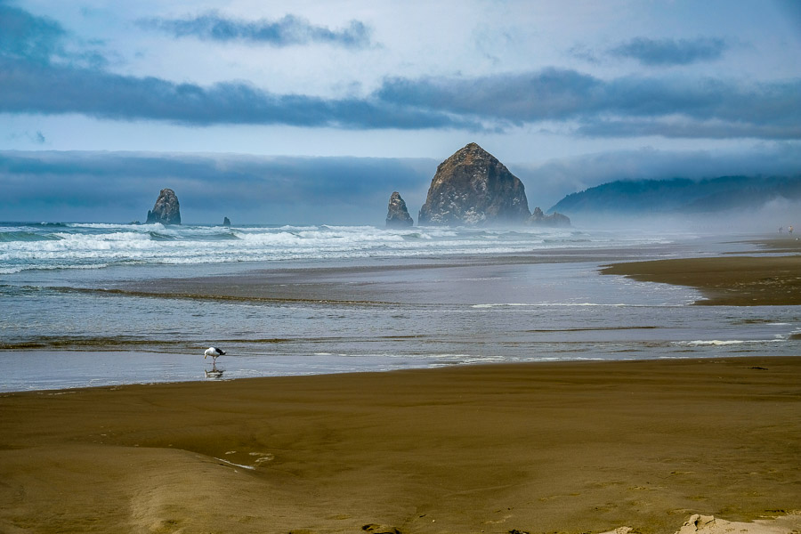 A closer view of Haystack Rock from Cannon Beach