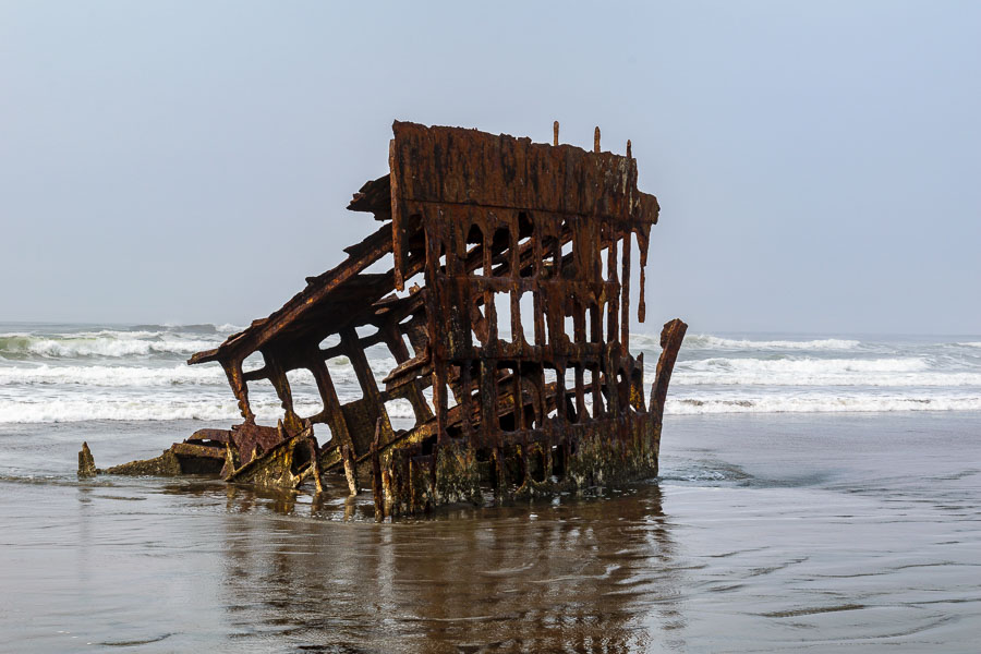 Remnants of the ship wreck draw visitors to the beach