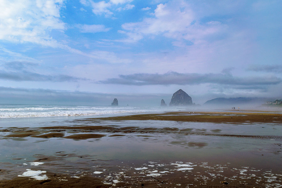 Distant view of Haystack Rock from Cannon Beach