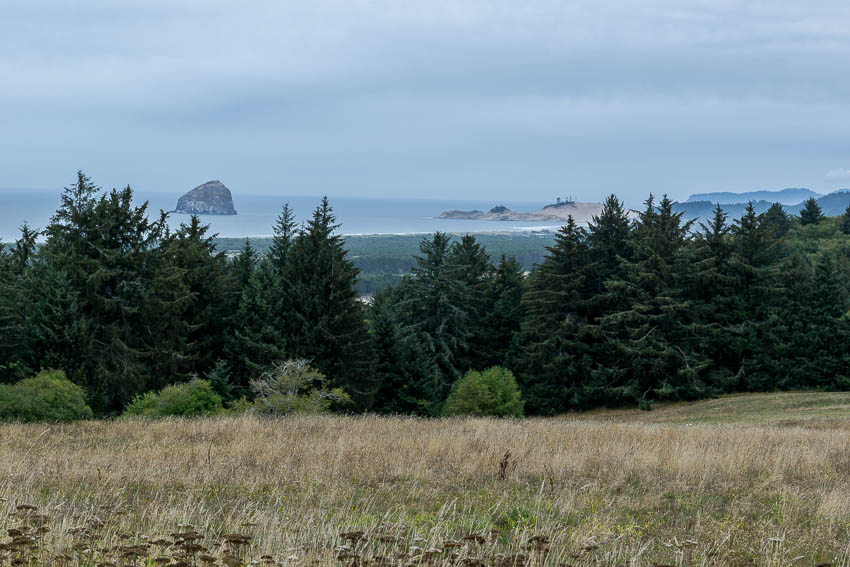 Haystack Rock from a high point at the refuge