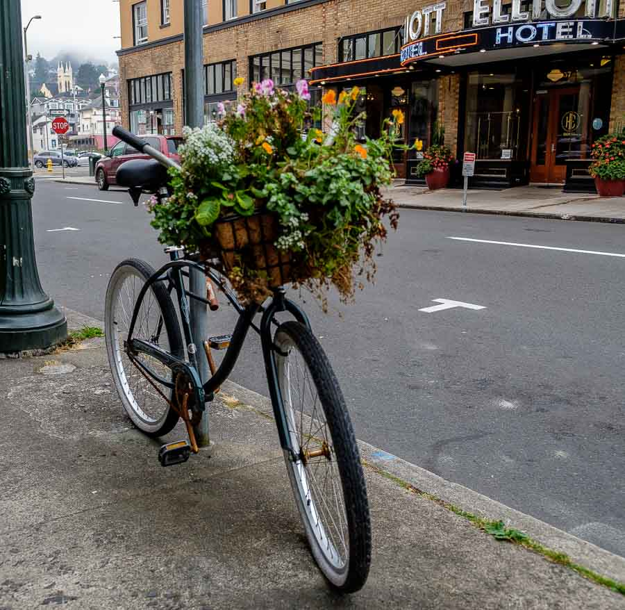 Bicycle planter along 12th Street - Astoria, Oregon